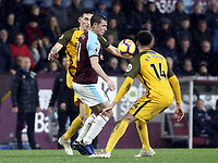 Burnley's Chris Wood vies for possession with Brighton & Hove Albion's Lewis Dunk (left) and Leon Balogun<br /> <br /> Photographer Rich Linley/CameraSport<br /> <br /> The Premier League - Burnley v Brighton and Hove Albion - Saturday 8th December 2018 - Turf Moor - Burnley<br /> <br /> World Copyright © 2018 CameraSport. All rights reserved. 43 Linden Ave. Countesthorpe. Leicester. England. LE8 5PG - Tel: +44 (0) 116 277 4147 - admin@camerasport.com - www.camerasport.com