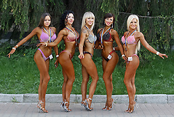 May 5, 2018 - Kiev, Ukraine - Bodybuilders pose for a photo outside, during on Cup of Ukraine of bodybuilding, fitness and athleticism UBPF 2018 competition, in Kiev, Ukraine, on 05 May 2018. (Credit Image: © Serg Glovny via ZUMA Wire)