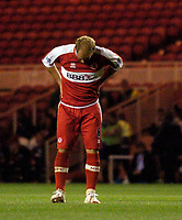 Photo: Jed Wee.<br /> Middlesbrough v Notts County. Carling Cup. 20/09/2006.<br /> <br /> Middlesbrough's Gaizka Mendieta shows his disappointment after a missed chance.