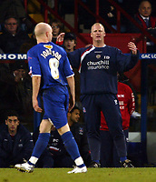 Photo: Chris Ratcliffe.<br />Crystal Palace v Wolverhampton Wanderers. Coca Cola Championship. 10/12/2005.<br />Iain Dowie asks Andy Johnson (L) how much longer he will stay at Palace.