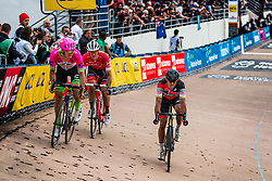 3rd group with Greg VAN AVERMAET finishing 4th and  Jasper STUYVEN finishing 5th during the 2018 Paris-Roubaix race at Velodrome Roubaix, France, 8 April 2018, Photo by Pim Nijland / PelotonPhotos.com   All photos usage must carry mandatory copyright credit (Peloton Photos   Pim Nijland)