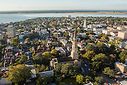 Aerial view of St Philips Church Charleston, South Carolina.