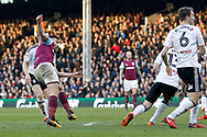 Aston Villa midfielder Robert Snodgrass (7) has a shot on goal during the EFL Sky Bet Championship match between Fulham and Aston Villa at Craven Cottage, London, England on 17 February 2018. Picture by Andy Walter.