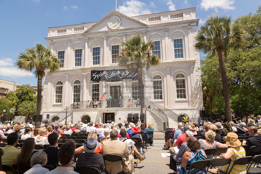 Spoleto Festival USA Chairman Edward Sellers speaks during the opening ceremonies for the 17-day performing arts festival May 27, 2016 in Charleston, South Carolina. The festival began with remembrances of the nine people fatally shot in last years AME church shooting.