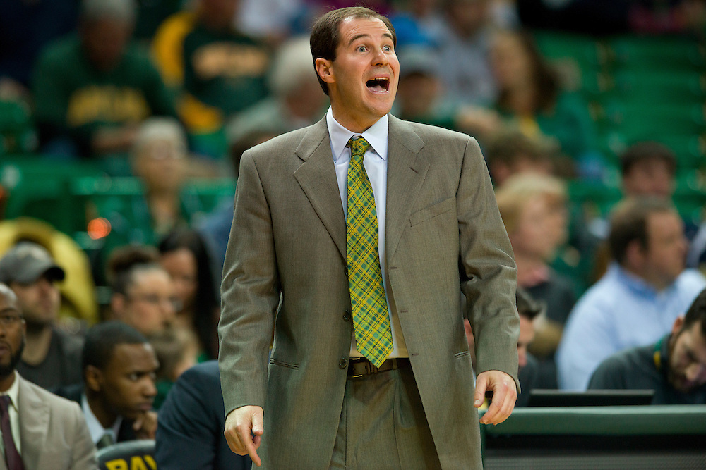 WACO, TX - JANUARY 28: Baylor Bears head coach Scott Drew looks on against the West Virginia Mountaineers on January 28, 2014 at the Ferrell Center in Waco, Texas.  (Photo by Cooper Neill/Getty Images) *** Local Caption *** Scott Drew