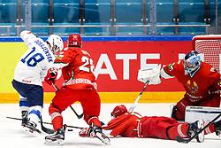 Ken Ograjensek of Slovenia vs Artyom Kisly of Belarus and Dmitri Milchakov of Belarus during ice hockey match between Belarus and Slovenia at IIHF World Championship DIV. I Group A Kazakhstan 2019, on May 2, 2019 in Barys Arena, Nur-Sultan, Kazakhstan. Photo by Matic Klansek Velej / Sportida