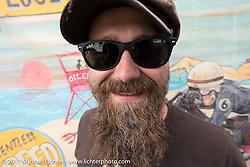 Period Modified's Matt Walksler at the Born Free 9 Motorcycle Show at Oak Creek Ranch. Silverado, CA. USA. Saturday June 24, 2017. Photography ©2017 Michael Lichter.