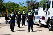 With a potential protest planned for the Shrine, a heavy police presence was seen during COVID-19 in Melbourne, Australia. Premier Daniel Andrews comes down hard on Victorians breaching COVID 19 restrictions, threatening to close beaches if locals continue to flout the rules. This comes as Victoria sees single digit new cases. (Photo by Dave Hewison/Speed Media)
