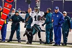 Philadelphia Eagles wide receiver DeSean Jackson #10 returns a kick for a touchdown during the NFL game between the Philadelphia Eagles and the New York Giants on December 13th 2009. The Eagles won 45-38 at Giants Stadium in East Rutherford, New Jersey. (Photo By Brian Garfinkel)