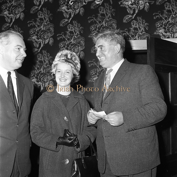 11/01/1962<br /> 01/11/1962<br /> 11 January 1962<br /> Irish Sugar Company film premier at the Shelbourne Hotel, Dublin. The premier of the Irish Sugar Co. film of the story of beet sugar in the Shelbourne Ballroom. Picture shows Mr J. Ginnel, (left) Chief of the Food Processing Division of the Irish Sugar Co., who made the film chatting to Mr Con Murphy, P.R.O. of Irish Sugar Co., who wrote the script and Miss Doris Herwig, Aer Lingus Hostess, who appeared in the film.