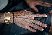 Mentawai indigenous woman tattooed hand (Indonesia).