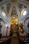 Baroque interior of The Carmelite church - ( Gy?r )  Gyor Hungary .<br /> <br /> Visit our HUNGARY HISTORIC PLACES PHOTO COLLECTIONS for more photos to download or buy as wall art prints https://funkystock.photoshelter.com/gallery-collection/Pictures-Images-of-Hungary-Photos-of-Hungarian-Historic-Landmark-Sites/C0000Te8AnPgxjRg