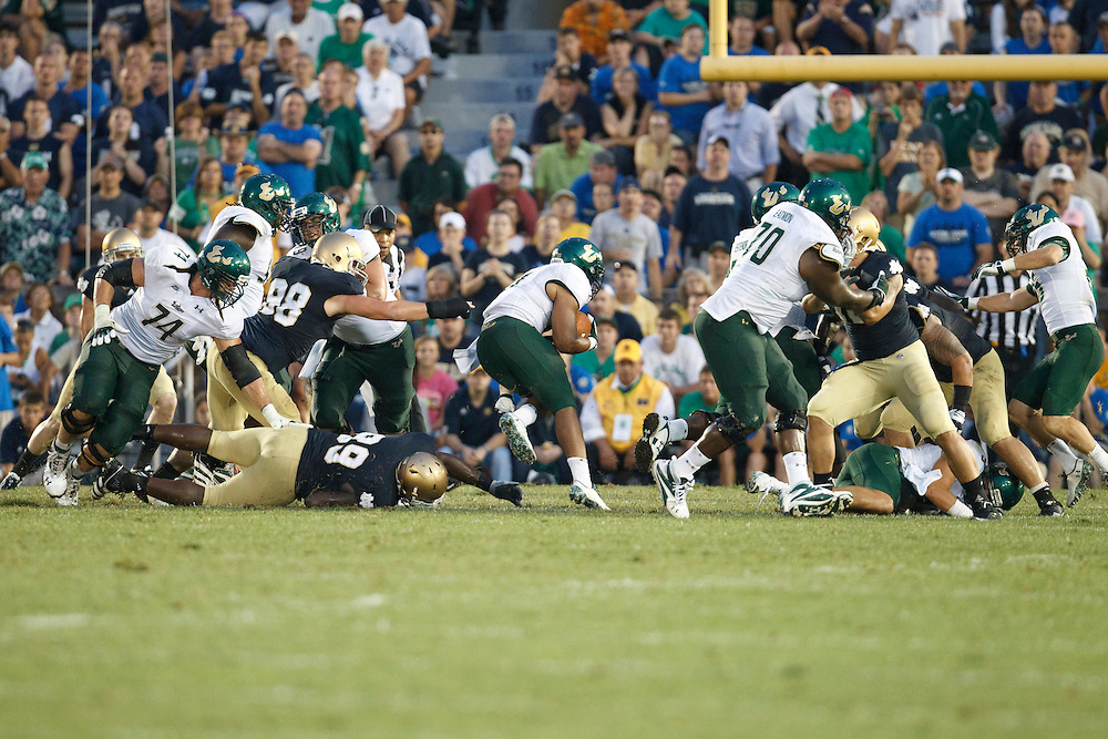 The USF offensive line opens running hole forrunning back Lindsey Lamar (#5) in action during NCAA football game between Notre Dame and South Florida.  The South Florida Bulls defeated the Notre Dame Fighting Irish 23-20 in game at Notre Dame Stadium in South Bend, Indiana.