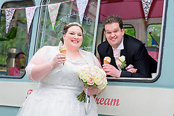 Bride and Groom enjoying an Ice Cream on their wedding day at St Michael's Manor