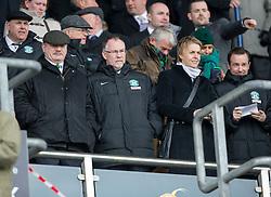 Rod Petrie, Hibernian's Chairman with Leeann Dempster, Chief Executive. <br /> Falkirk 0 v 3 Hibernian, Scottish Championship game played at The Falkirk Stadium 2/5/2015.