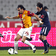 Istanbul BBSpor's Efe INANC (R) and Galatasaray's Servet CETIN (L) during their Turkish soccer superleague match Istanbul BBSpor between Galatasaray at the Ataturk Olympic stadium in Istanbul Turkey on Sunday 11 September 2011. Photo by TURKPIX