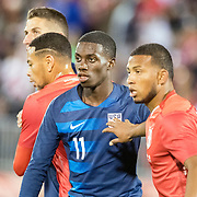 EAST HARTFORD, CONNECTICUT- October 16th:   Tim Weah #11 of the United States defended by Johan Madrid #2 of Peru during the United States Vs Peru International Friendly soccer match at Pratt & Whitney Stadium, Rentschler Field on October 16th 2018 in East Hartford, Connecticut. (Photo by Tim Clayton/Corbis via Getty Images)