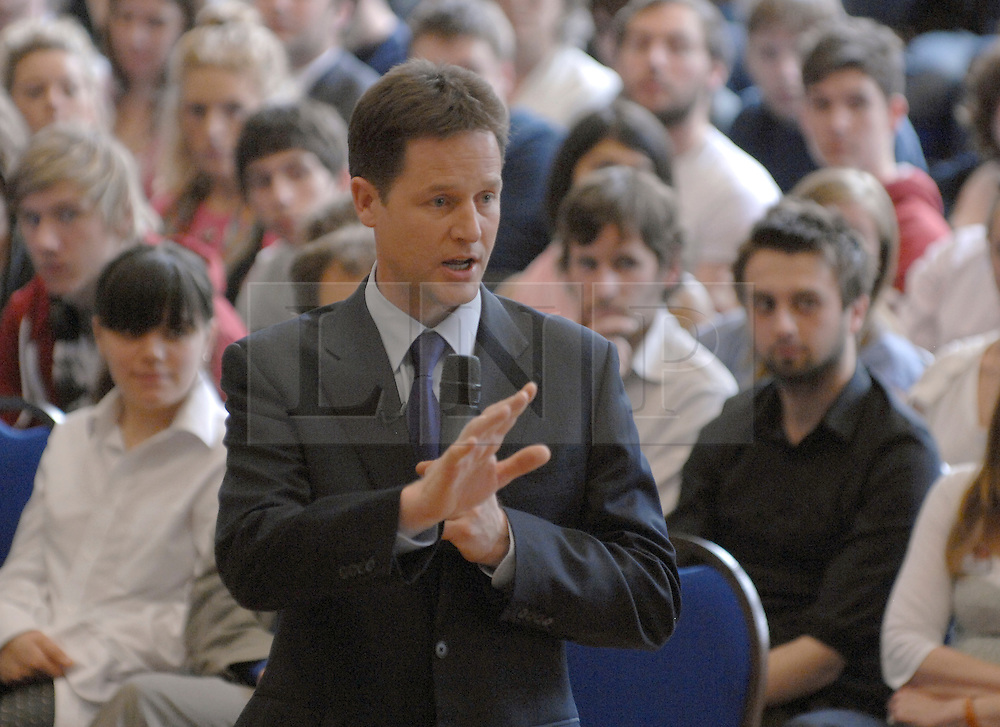 FILE PICTURE © under license to London News Pictures.  NICK CLEGG talks to students in Oxford during the Election campaign in 2010. A week of student protests and a crucial Commons vote on Thursday on the coalition's proposals to lift the cap on fees to £9,000 a year put the pressure on Deputy Prime Minister Nick Clegg and Business Secretary Vince Cable. Picture credit should read Stephen Simpson/London News Pictures