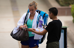 September 22, 2018 - Elise Mertens of Belgium signs autographs at the 2018 Dongfeng Motor Wuhan Open WTA Premier 5 tennis tournament (Credit Image: © AFP7 via ZUMA Wire)