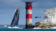 Lloyd Thornburg's Team Phaedo 3 passes The Needles lighthouse during the Round the Island Race. Isle of Wight.<br /> Picture date: Saturday July 2, 2016.<br /> Photograph by Christopher Ison ©<br /> 07544044177<br /> chris@christopherison.com<br /> www.christopherison.com