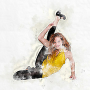 Digitally enhanced Flexibility concept red haired female model stretching out on white background