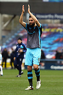 Atdhe Nuhiu of Sheffield Wednesday applauds the fans after the game. Skybet football league Championship match, Huddersfield Town v Sheffield Wednesday at the John Smith's Stadium in Huddersfield, Yorkshire on Saturday 2nd April 2016.<br /> pic by Chris Stading, Andrew Orchard sports photography.