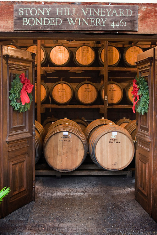 Stony Hill Winery, St. Helena, CA (Napa Valley). Stony Hill Winery is known for producing fine white wines which are aged in oak barrels that have been used for as many as 30 years, thereby not adding much oak flavor at all to the wine. The doors were hand carved by Peter McCrea, the winery founder..