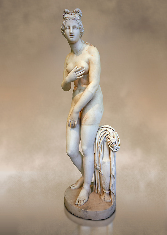 Full length three quarter view of 2nd century AD Roman marble sculpture of Aphrodite (Venus), 'Dresden Capitoline Type, copied from a Hellanistic Greek original,  inv 6238, Museum of Archaeology, Italy ..<br /> <br /> If you prefer to buy from our ALAMY STOCK LIBRARY page at https://www.alamy.com/portfolio/paul-williams-funkystock/greco-roman-sculptures.html . Type -    Naples    - into LOWER SEARCH WITHIN GALLERY box - Refine search by adding a subject, place, background colour, museum etc.<br /> <br /> Visit our ROMAN WORLD PHOTO COLLECTIONS for more photos to download or buy as wall art prints https://funkystock.photoshelter.com/gallery-collection/The-Romans-Art-Artefacts-Antiquities-Historic-Sites-Pictures-Images/C0000r2uLJJo9_s0