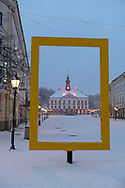 Tartu, Estonia - February 27, 2020: A snow-covered Raekoja plats (Town Hall Square) pictured just before seven o'clock in the morning in Tartu, Estonia.
