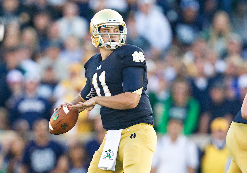 September 08, 2012:  Notre Dame quarterback Tommy Rees (11) during NCAA Football game action between the Notre Dame Fighting Irish and the Purdue Boilermakers at Notre Dame Stadium in South Bend, Indiana.  Notre Dame defeated Purdue 20-17.