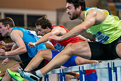 Sander Maes in action on the 60 meter hurdles during AA Drink Dutch Athletics Championship Indoor on 21 February 2021 in Apeldoorn.