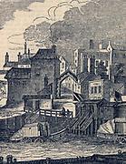 York Gate, Boradstairs Kent, England, bathing huts in foreground. Engraving, 1836.
