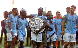 Manchester City's Benjamin Mendy with the Community Shield