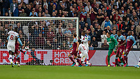 Football - 2019 / 2020 Premier League - West Ham United vs. Crystal Palace <br /> <br /> Ryan Fredericks (West Ham United) hidden hooks the ball away from the empty West Ham goal denying them the chance to open their account at the London Stadium<br /> <br /> COLORSPORT/DANIEL BEARHAM