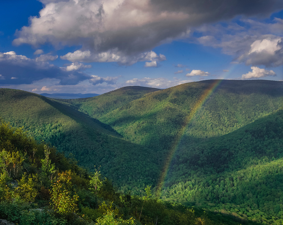 """View of """"The Hopper"""" in spring, with rainbow, forested mountains and valley, Mt Greylock State Reservation, MA"""