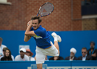 Tennis - 2017 Aegon Championships [Queen's Club Championship] - Day Four, Thursday <br /> <br /> Men's Singles: Round of 16 - Daniil MEDVEDEV (RUS) Vs Thanasi KOKKINAKIS (AUS)<br /> <br /> Danil Medvedev (RUS) with a follow through from his backhand return at Queens Club<br /> <br /> COLORSPORT/DANIEL BEARHAM