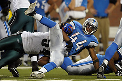 DETROIT - SEPTEMBER 19: Running back Jahvid Best #44 of the Detroit Lions is tackled by defensive end Brandon Graham #54 of the Philadelphia Eagles on September 19, 2010 at Ford Field in Detroit, Michigan. The Eagles won 35-32. (Photo by Drew Hallowell/Getty Images)  *** Local Caption *** Jahvid Best;Brandon Graham