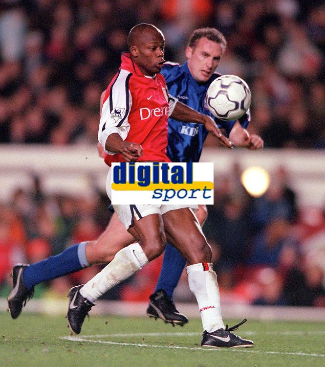 Sylvian Wiltord (Arsenal) John McGreal (Ipswich). Arsenal 1:2 Ipswich Town, Worthington Cup, Third Round, 1/11/2000. Credit Colorsport / Stuart MacFarlane.