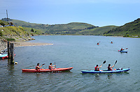 Canoeists, Russian River, Jenner, Sonoma County, California, USA. 201304292048<br /> <br /> Copyright Image from Victor Patterson, 54 Dorchester Park, Belfast, UK, BT9 6RJ<br /> <br /> Tel: +44 28 9066 1296<br /> Mob: +44 7802 353836<br /> Voicemail +44 20 8816 7153<br /> Skype: victorpattersonbelfast<br /> Email: victorpatterson@me.com<br /> Email: victorpatterson@ireland.com (back-up)<br /> <br /> IMPORTANT: If you wish to use this image or any other of my images please go to www.victorpatterson.com and click on the Terms & Conditions. Then contact me by email or phone with the reference number(s) of the image(s) concerned.