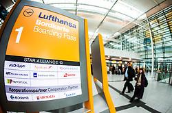 THEMENBILD, Airport Muenchen, Franz Josef Strauß (IATA: MUC, ICAO: EDDM), Der Flughafen Muenchen zählt zu den groessten Drehkreuzen Europas, rund 100 Fluggesellschaften verbinden ihn mit 230 Zielen in 70 Laendern, im Bild Lufthansa Hinweisschild // THEME IMAGE, FEATURE - Airport Munich, Franz Josef Strauss (IATA: MUC, ICAO: EDDM), The airport Munich is one of the largest hubs in Europe, approximately 100 airlines connect it to 230 destinations in 70 countries. picture shows: Lufthansa sign, Munich, Germany on 2012/05/06. EXPA Pictures © 2012, PhotoCredit: EXPA/ Juergen Feichter