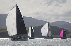 Largs Regatta Festival 2018<br /> <br /> Day 1 - RC35 Fleet downwind, GBR8543R, Jings, Robin Young, CCC, J109<br /> <br /> Images: Marc Turner