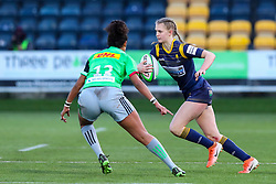 Vicky Laflin of Worcester Warriors Women tries to evade Lagi Tuima of Harlequins Women  - Mandatory by-line: Nick Browning/JMP - 20/12/2020 - RUGBY - Sixways Stadium - Worcester, England - Worcester Warriors Women v Harlequins Women - Allianz Premier 15s