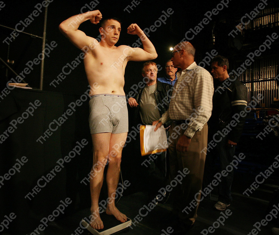 """Mark Clancy weighs in at the Irish Ropes """"Erin Go Brawl """" at Madison Square Garden, New York on Friday night.<br /> Photograph by Eamon Ward"""