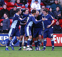 Photo: Dave Linney.<br />Walsall v Swindon Town. Coca Cola League 2. 09/12/2006<br />Swindon players celebrate after Lucas Jutkiewicz put them 1-0 ahead..