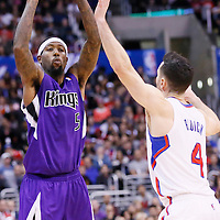 23 November 2013: Sacramento Kings small forward John Salmons (5) passes the ball over Los Angeles Clippers shooting guard J.J. Redick (4) during the Los Angeles Clippers 103-102 victory over the Sacramento Kings at the Staples Center, Los Angeles, California, USA.