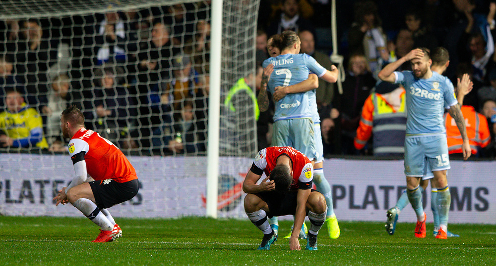 Players from both sides react at the full time whistle<br /> <br /> Photographer Alex Dodd/CameraSport<br /> <br /> The EFL Sky Bet Championship - 191123 Luton Town v Leeds United - Saturday 23rd November 2019 - Kenilworth Road - Luton<br /> <br /> World Copyright © 2019 CameraSport. All rights reserved. 43 Linden Ave. Countesthorpe. Leicester. England. LE8 5PG - Tel: +44 (0) 116 277 4147 - admin@camerasport.com - www.camerasport.com