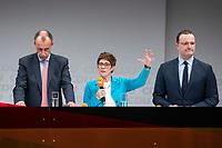 30 NOV 2018, BERLIN/GERMANY:<br /> Friedrich Merz (L), CDU, Rechtanwalt und ehem. stellv. CDU/CSU Fraktionsvorsitzender, Annegret Kramp-Karrenbauer (M), CDU Generalsekretaerin, und Jens Spahn (R), CDU, Bundesgesundheitsminister, waehrend der Fragerunden der Teilnehmer,  Regionalkonferenz der CDU zur Vorstellung der Kandidaten fuer das Amt des Bundesvorsitzenden der CDU, Estrell Convention Center<br /> IMAGE: 20181130-01-047