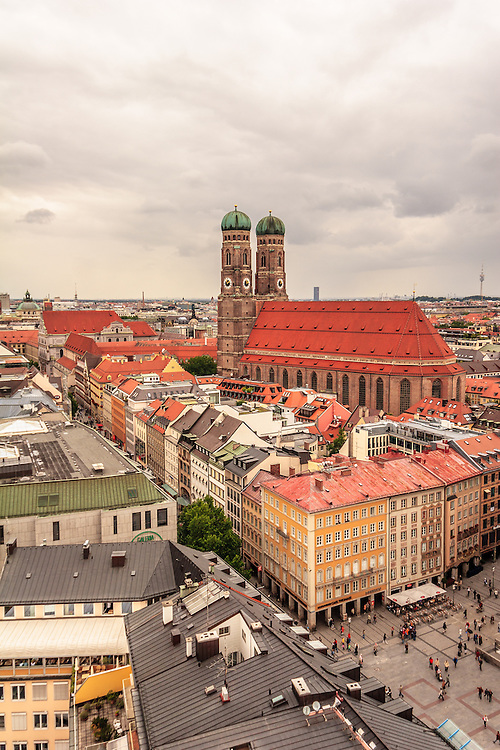 The Frauenkirche (Cathedral of Our Dear Lady) in Munich, Germany. The church that is the cathedral of the Archbishop of Munich and Freising is a symbol of the Bavarian State Capital.