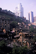 The river banks of the Yangtze at Chongqing city where the new and the old architecture meet, China