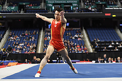 March 2, 2019 - Greensboro, North Carolina, US - YUE MA from China competes on the floor exercise at the Greensboro Coliseum in Greensboro, North Carolina. (Credit Image: © Amy Sanderson/ZUMA Wire)